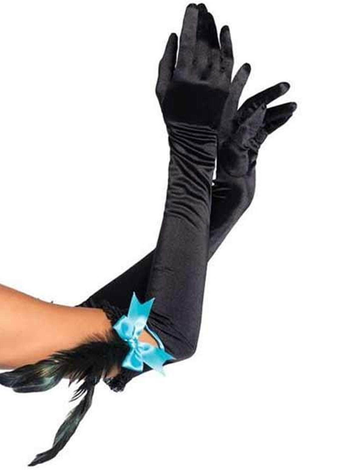 Satin Opera Length Gloves W/Feather