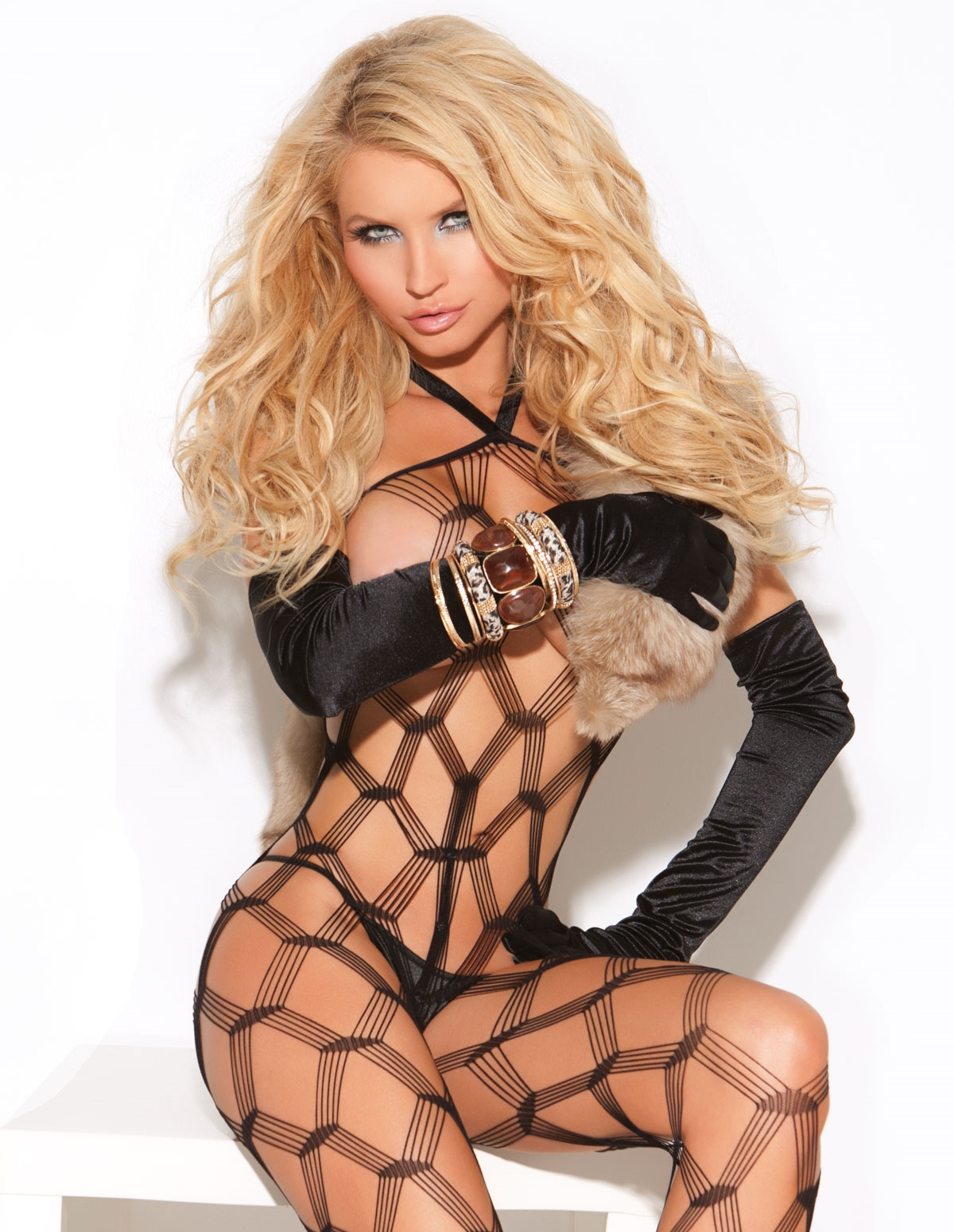 Halter Diamond Net Bodystocking