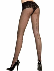 FISHNET PANTYHOSE WITH RHINESTONE SEAM