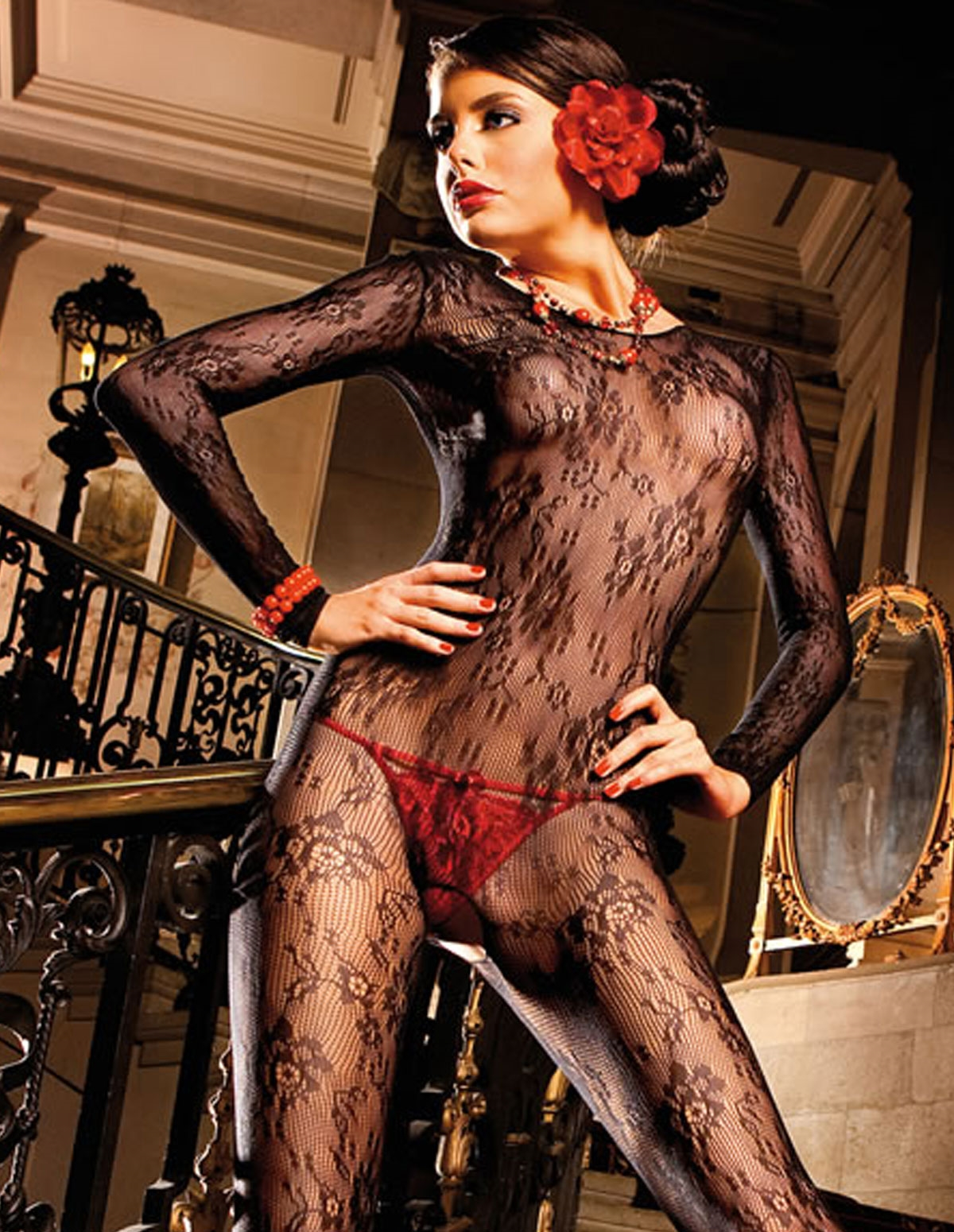 Ls Flower Lace Bodystocking