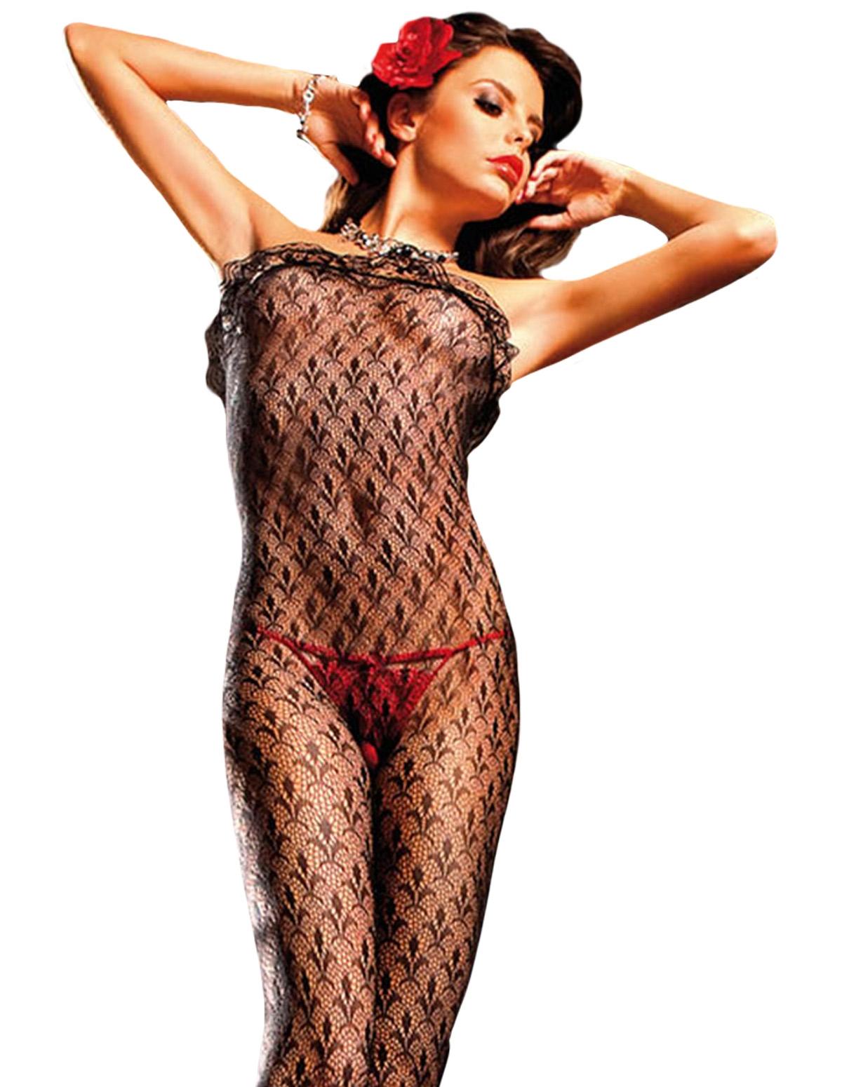 Strapless Ruffle Lace Bodystocking