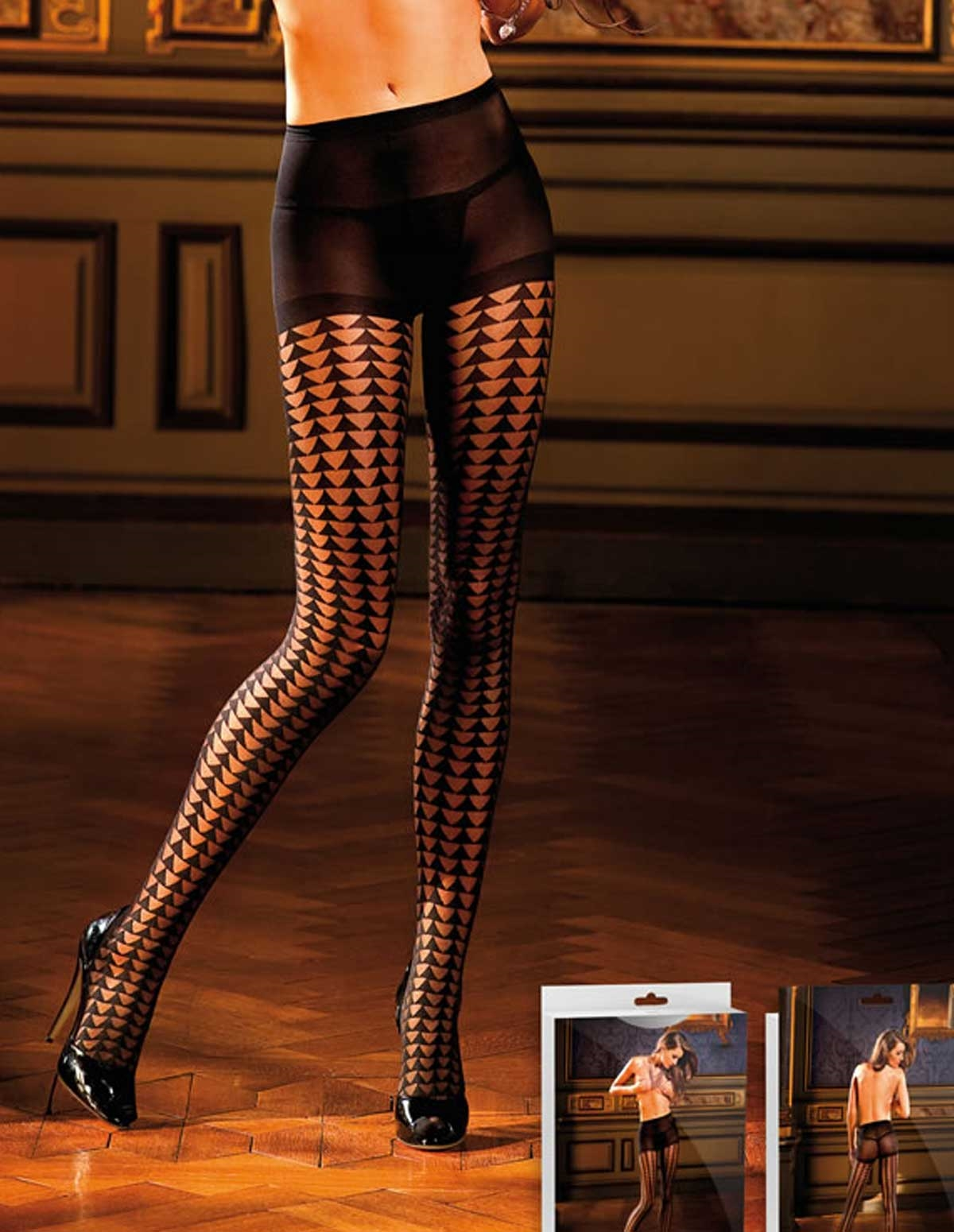 Sheer Houndstooth Pantyhose