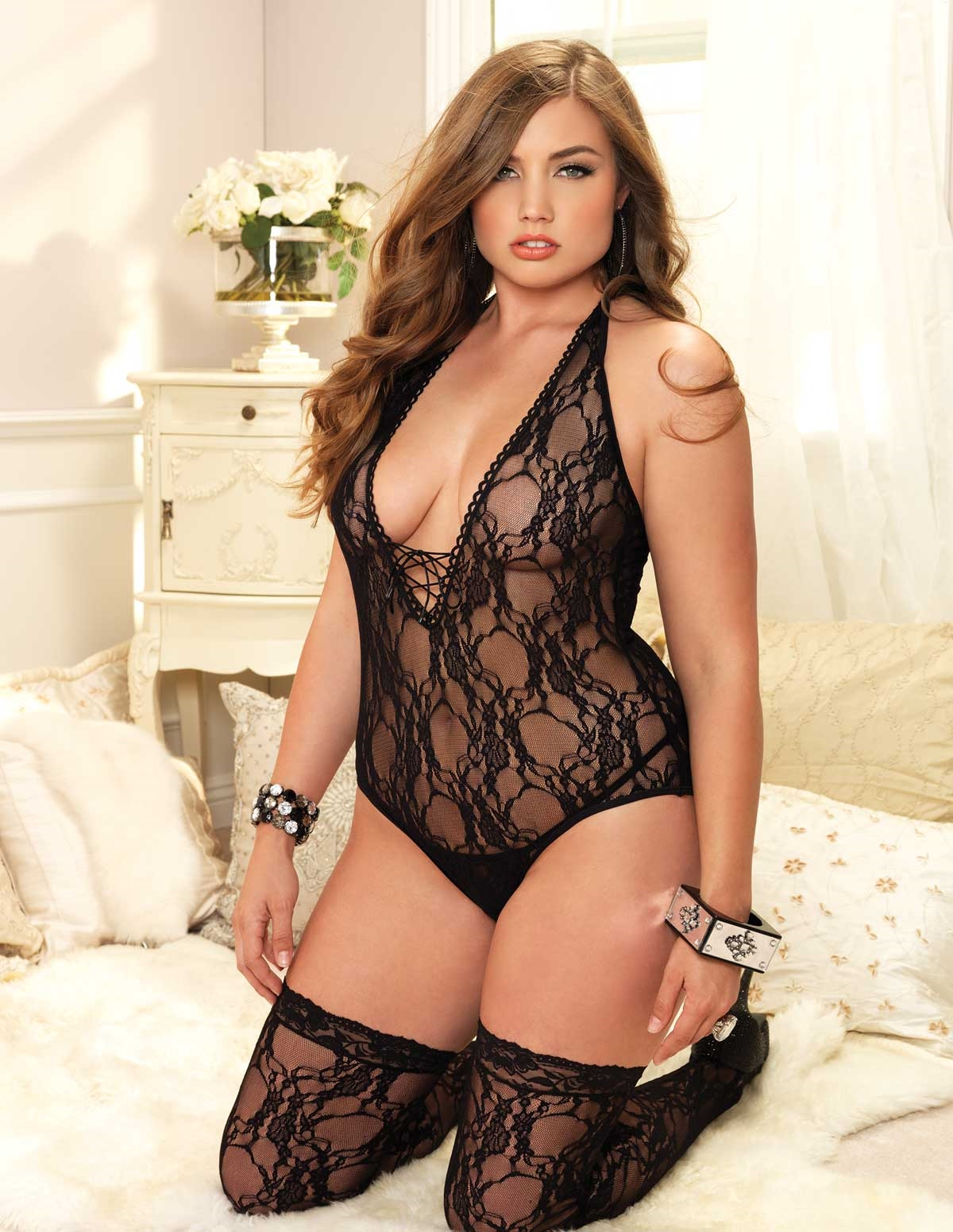 2Pc Floral Lace Teddy