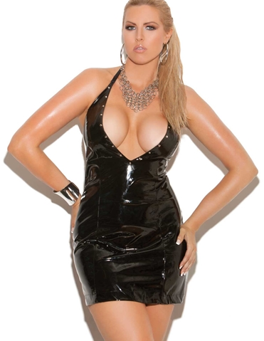 DEEP V VINYL DRESS - PLUS