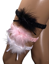 SATIN BAND GARTER WITH MARABOU