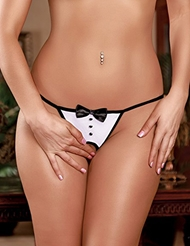 CROTCHLESS TUXEDO G-STRING - PLUS