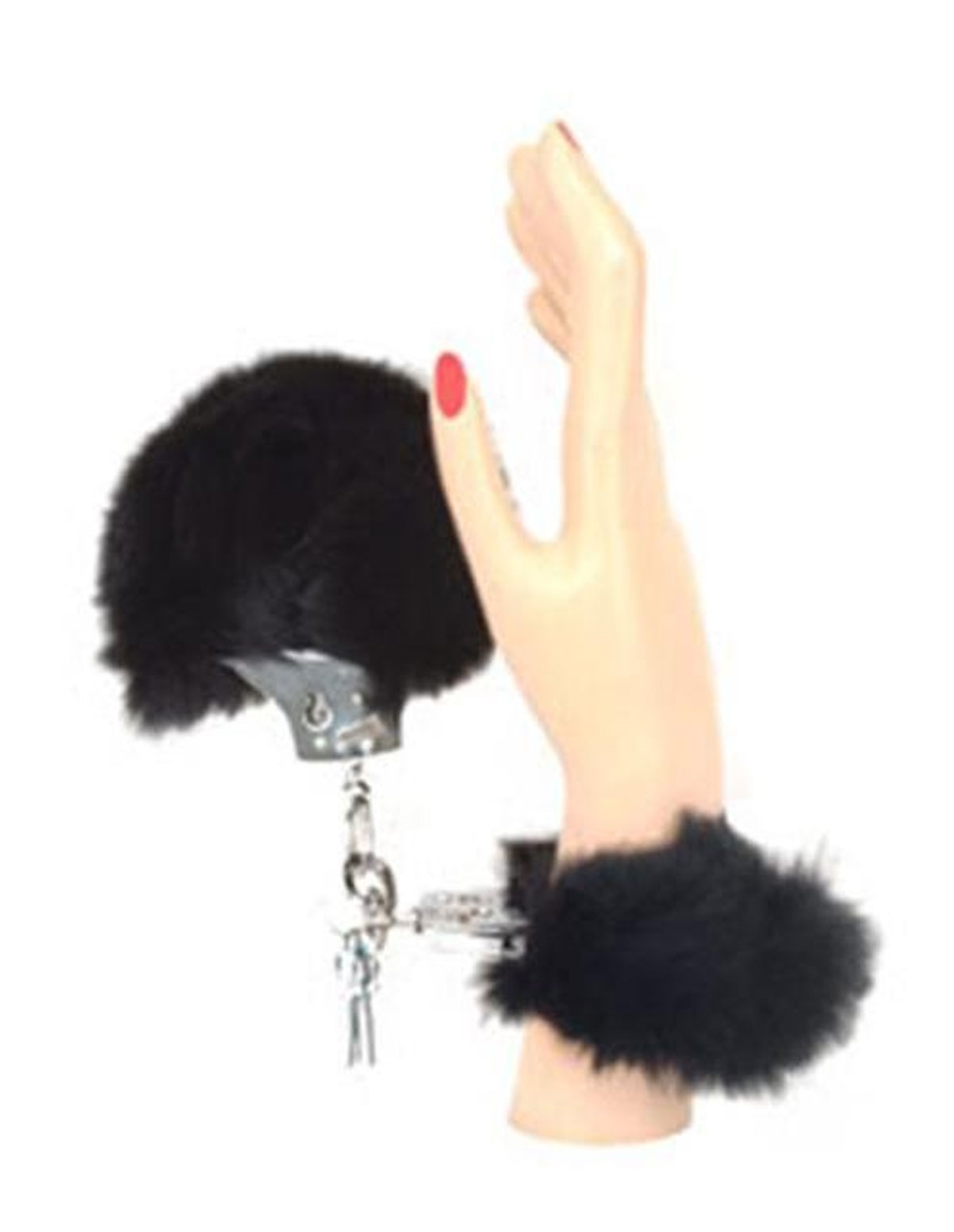 Rabbit Fur Handcuffs Black